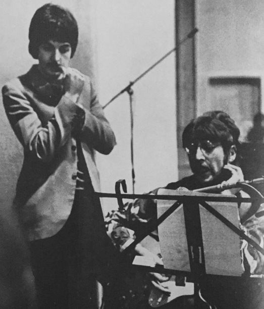 The prime movers of the Beatles new musical direction are composers John and Paul -  they experiment with guitar chords